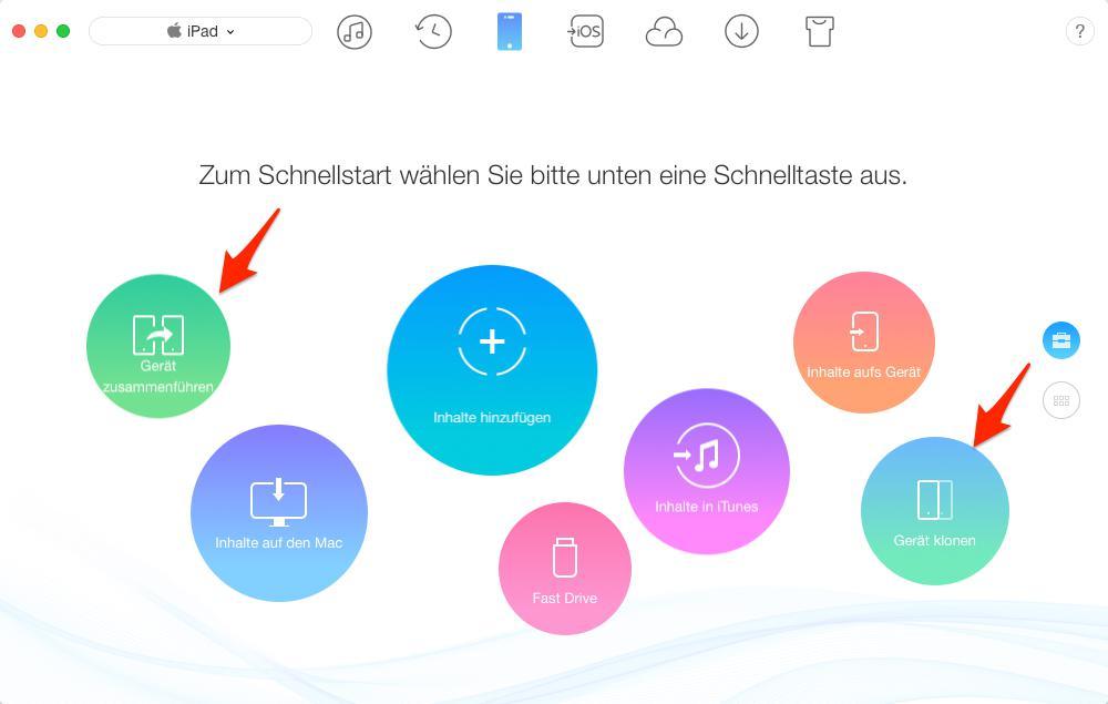iPad Daten übertragen mit AnyTrans – Schritt 2