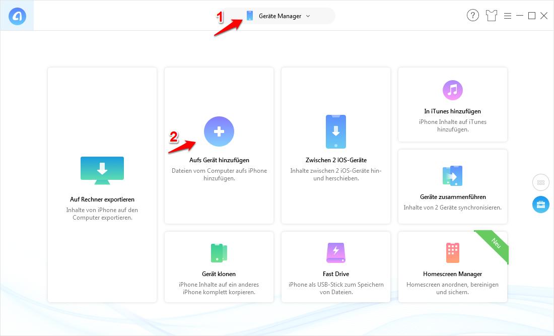 Daten vom Computer auf iPad übertragen – Schritt 1