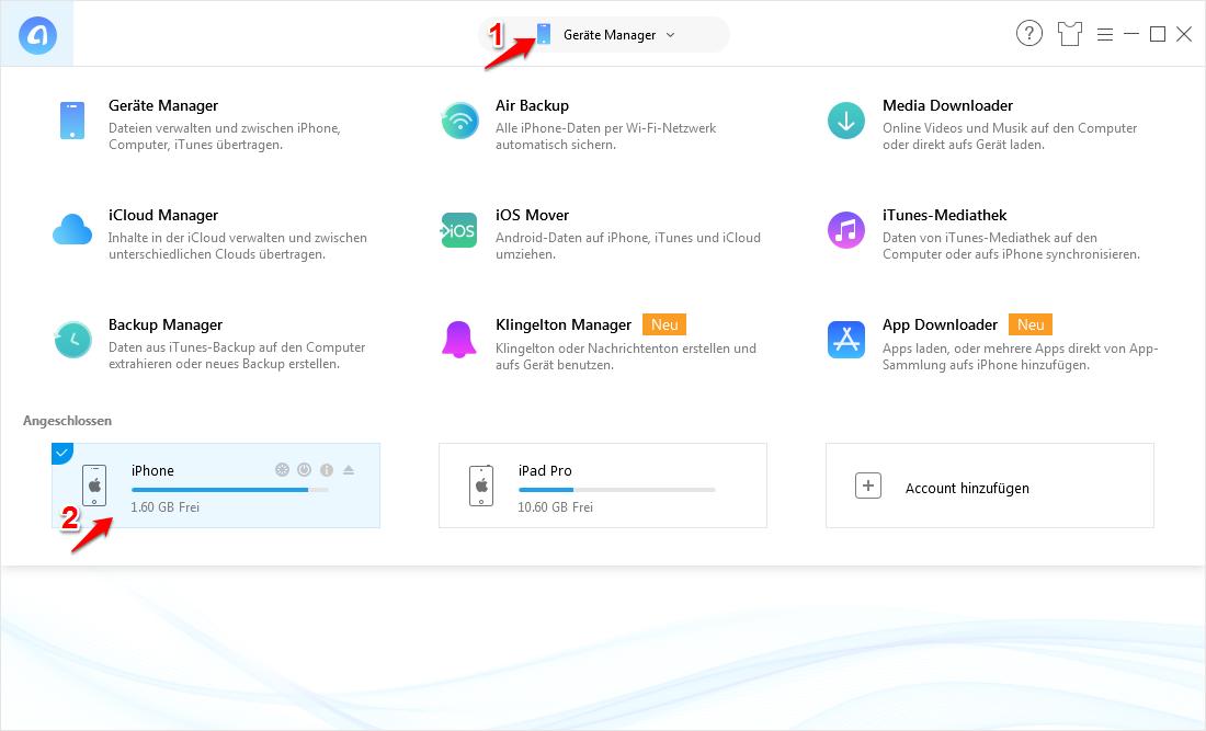 Daten auf iPad übertragen – Schritt 1