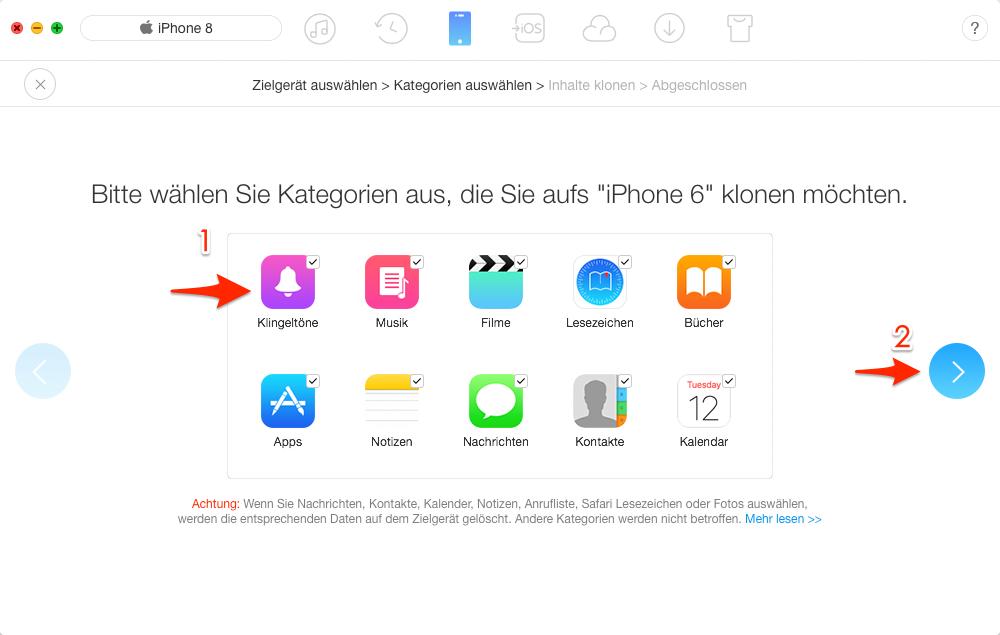 Dateien auf neues iPhone 6/6s übertragen – Schritt 2