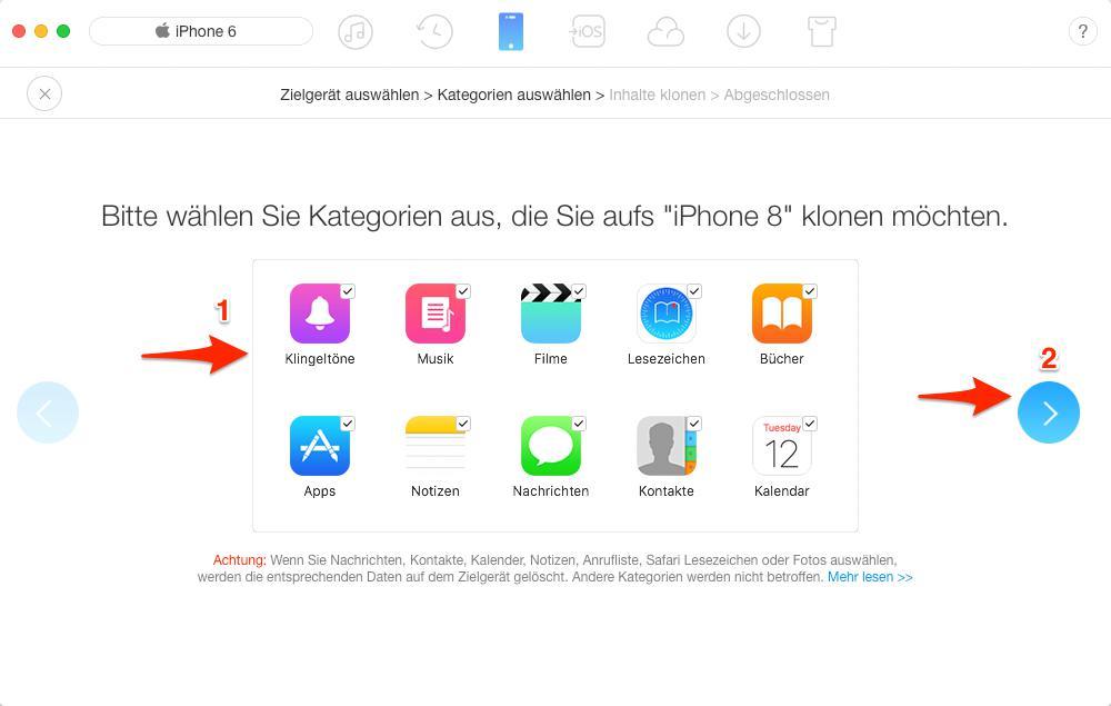 Daten auf neues iPhone X/8/7 übertragen – Schritt 3