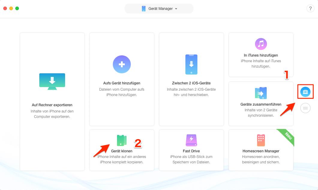 Daten auf neues iPhone Xs/XR/X/8 übertragen – Schritt 2