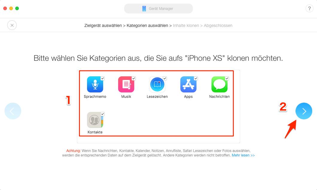 iPhone Daten auf neues iPhone XR/Xs (Max) übertragen – Schritt 4