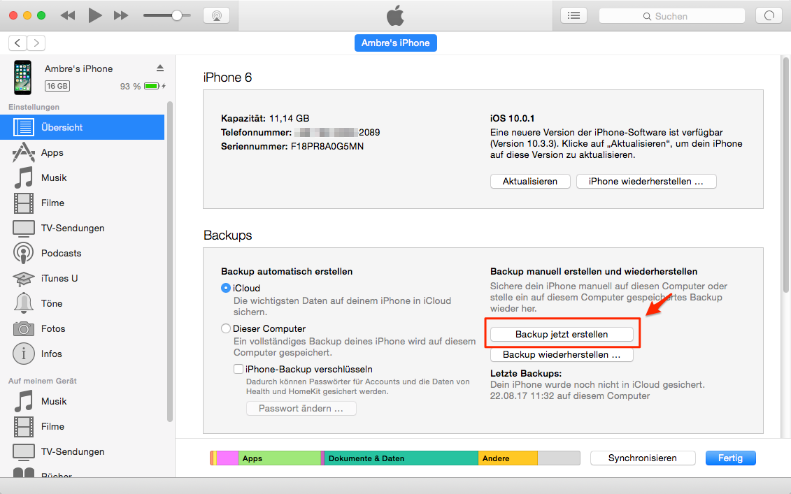 iPhone Daten auf neues iPhone übertragen – iPhone mit iTunes sichern
