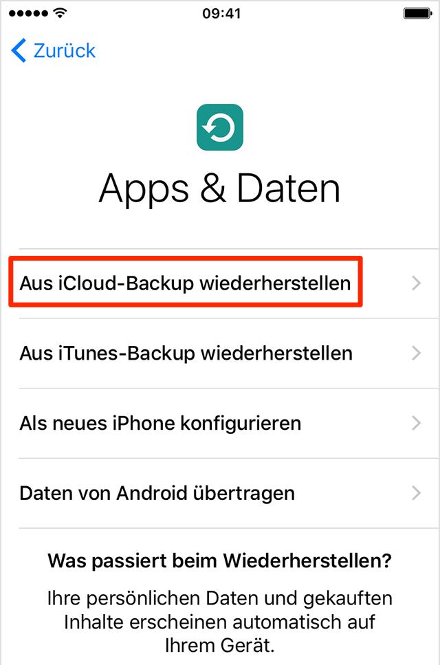 Daten aus iCloud – iPhone Daten auf neues iPhone X/8 übertragen