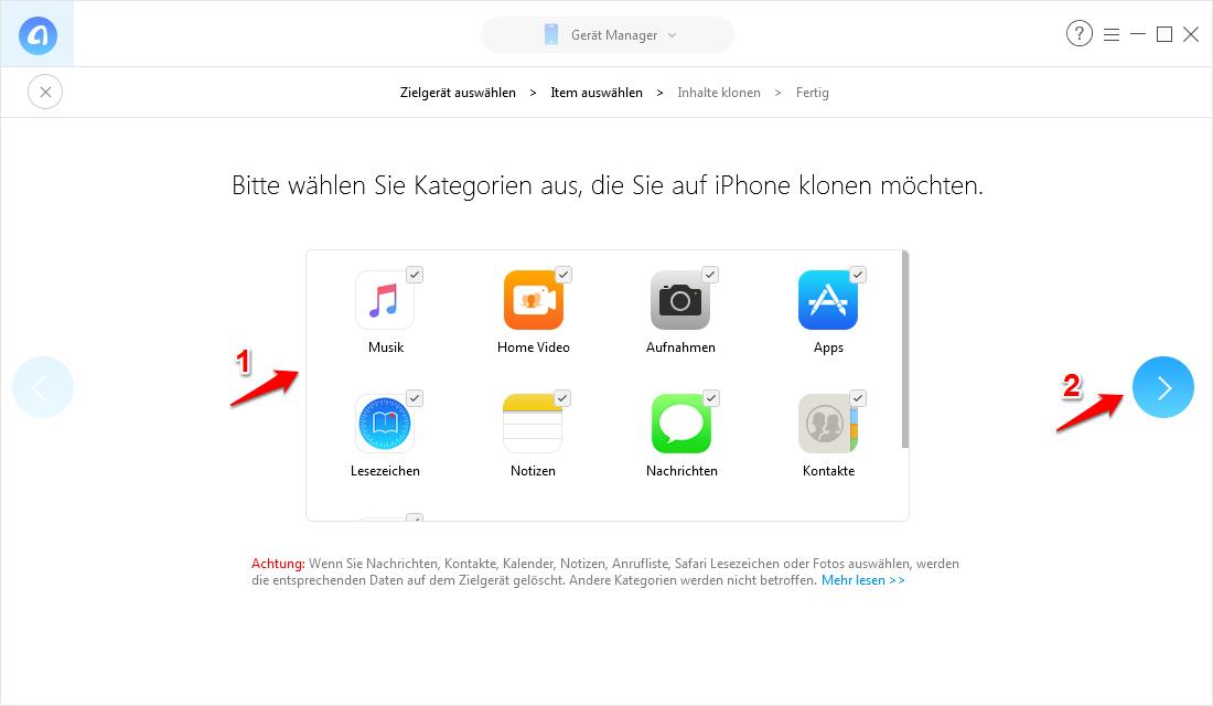 Einzelne Daten auf neues iPhone übertragen