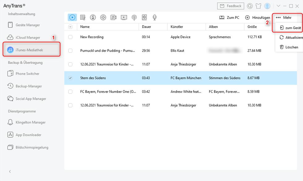 Daten aus iTunes auf iPad übertragen ohne iTunes zu benutzen