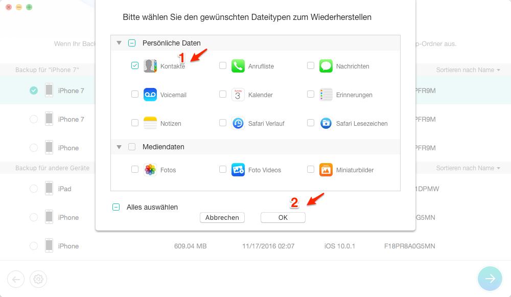 iPhone: Daten aus Backup selektiv wiederherstellen
