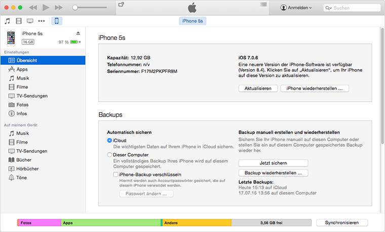 iOS 9/9.3.4/9.3.5: Daten wiederherstellen via iTunes