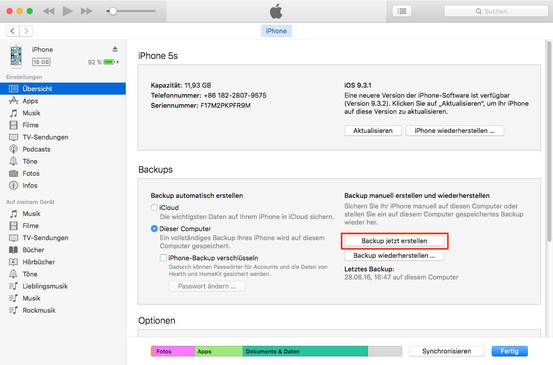 Daten vom iPhone 6/5/5s/4 auf iPhone 7: Alte iPhone über iTunes zu sichern