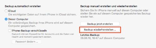 Daten auf neues iPhone übertragen: Daten vom iTunes-Backup exportieren