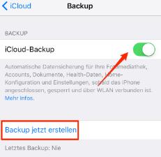 Altes iPhone mit iCloud sichern – Schritt 1