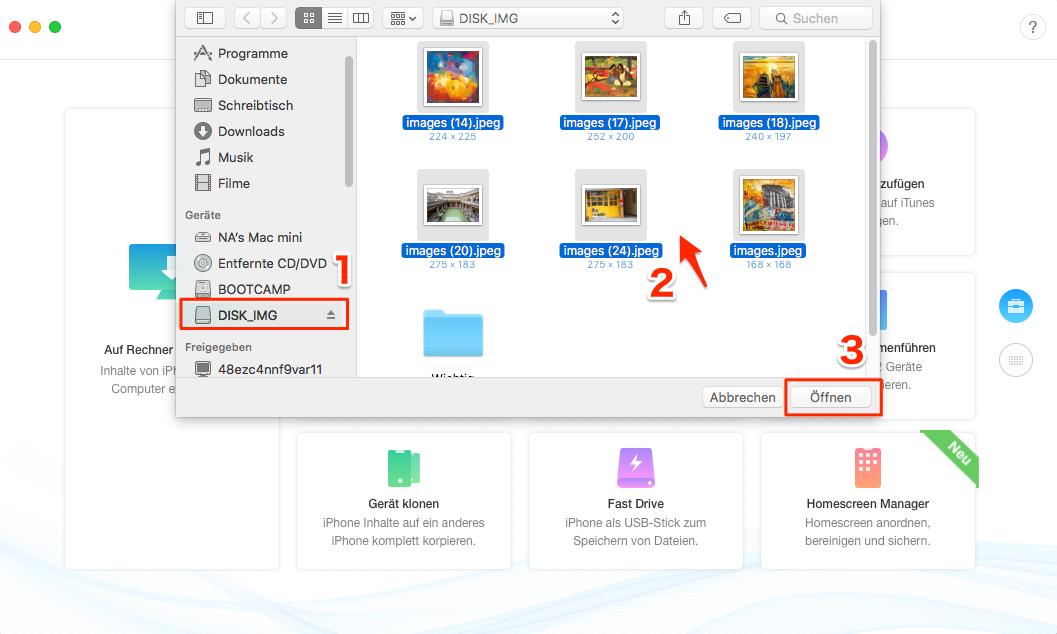 Daten von USB-Stick auf iPad – Schritt 1