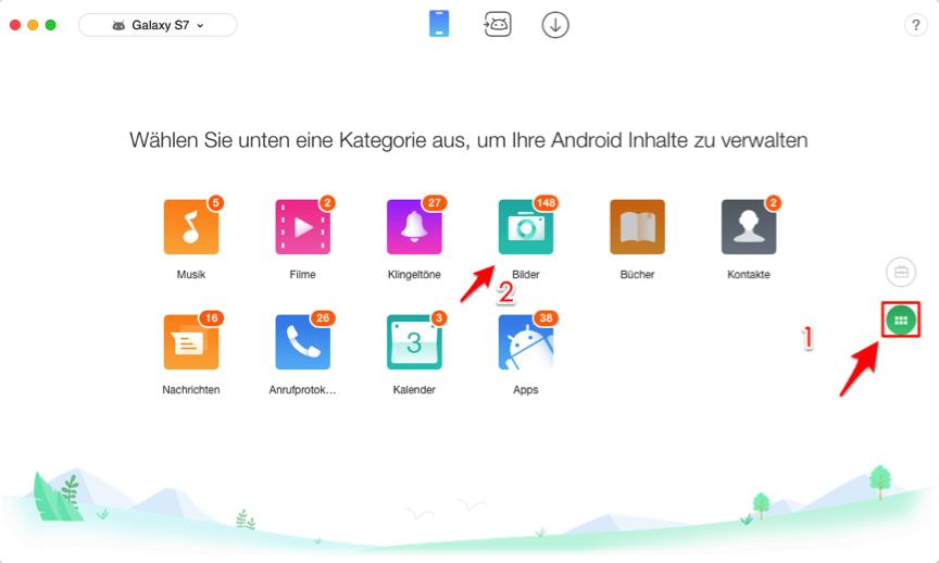 Daten von Android zu Android selektiv übertragen – Kategorie auswählen