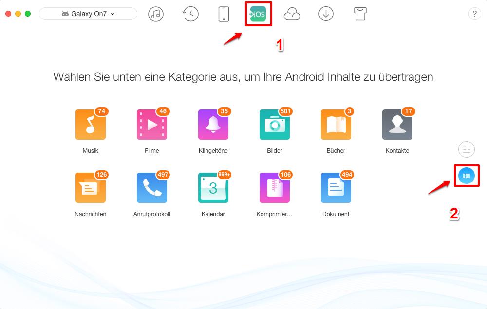 Daten von Android auf iOS - nach Kategorien übertragen