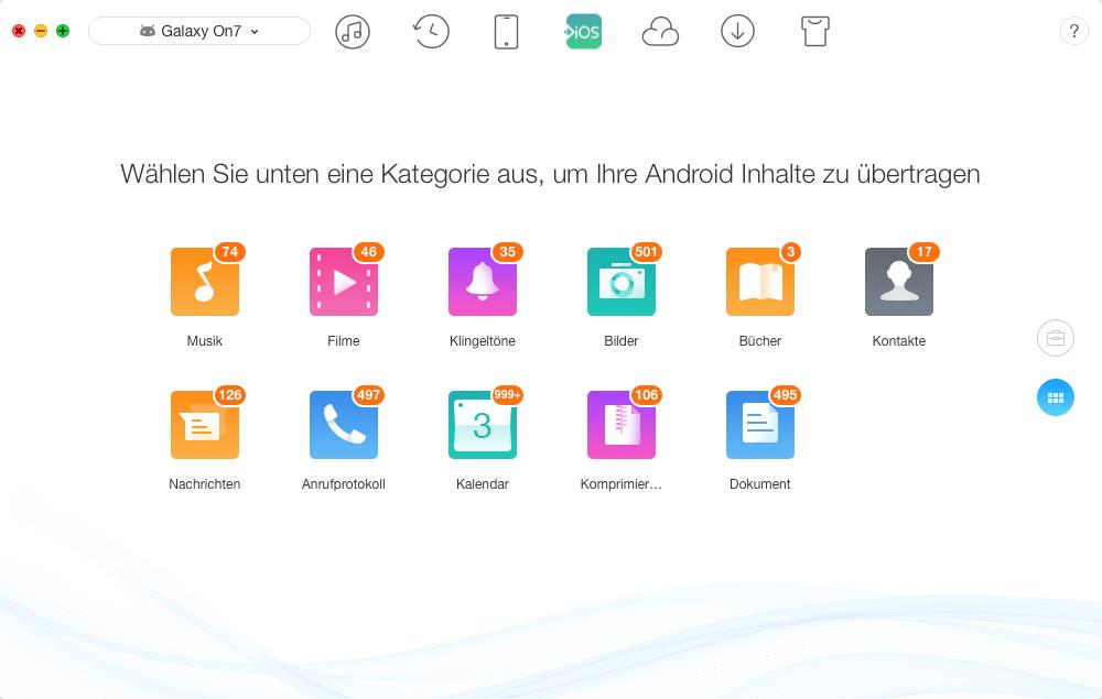 Gewünschte Dateitypen auswählen – Schritt 2