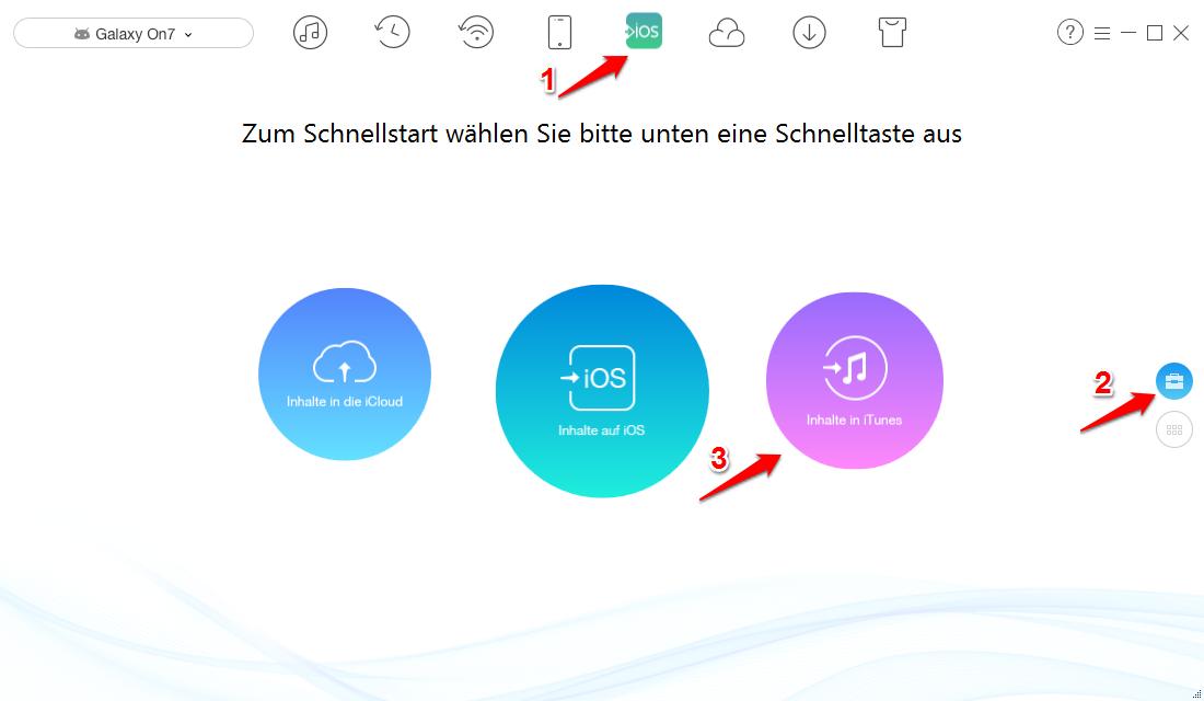 Daten von Android auf iTunes übertragen – Schritt 1
