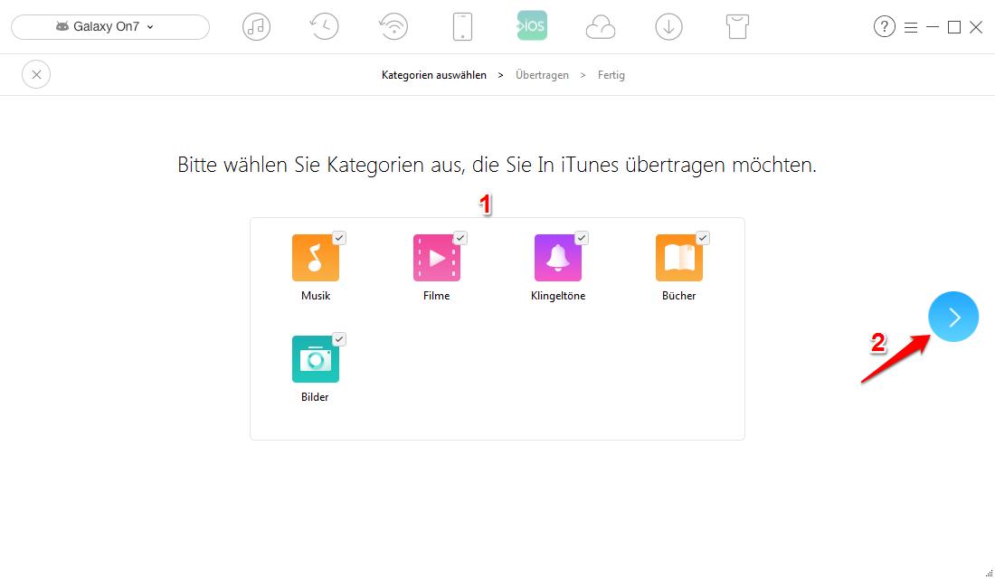 Android Daten auf iTunes direkt übertragen – Schritt 2