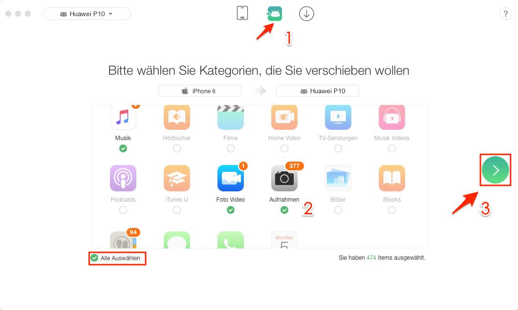 iPhone Daten auf Huawei schnell übertragen – Schritt 2