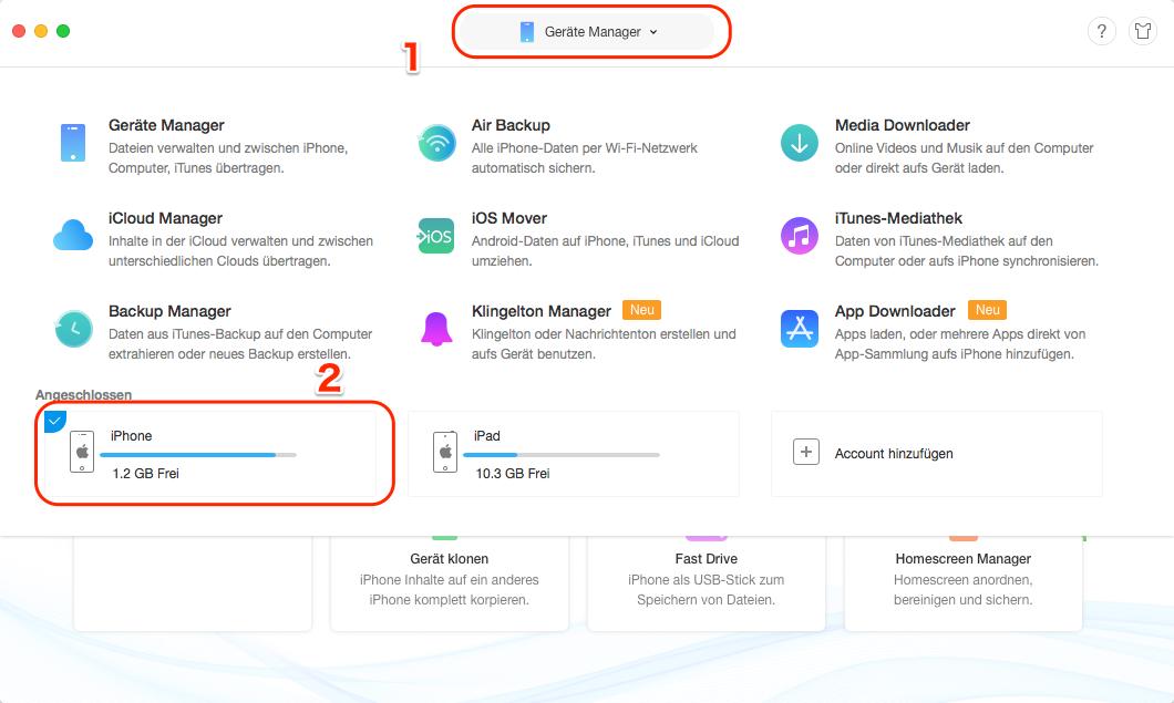 Daten vom iPhone auf iPad übertragen - iPhone auswählen