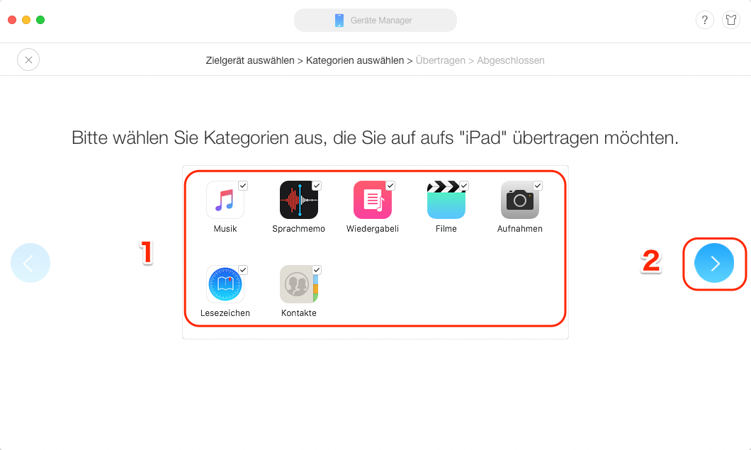 Daten von iPhone auf iPad übertragen - Schritt 3
