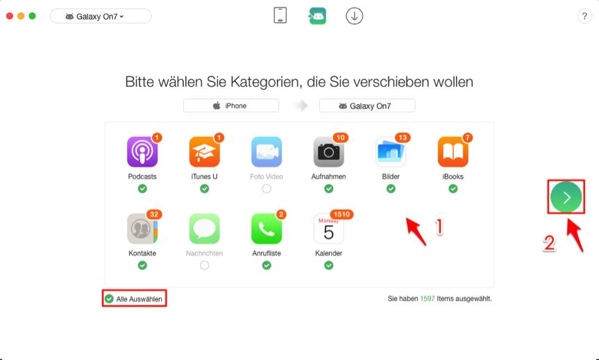 1-Klick! Datenübertragung vom iPhone auf Samsung