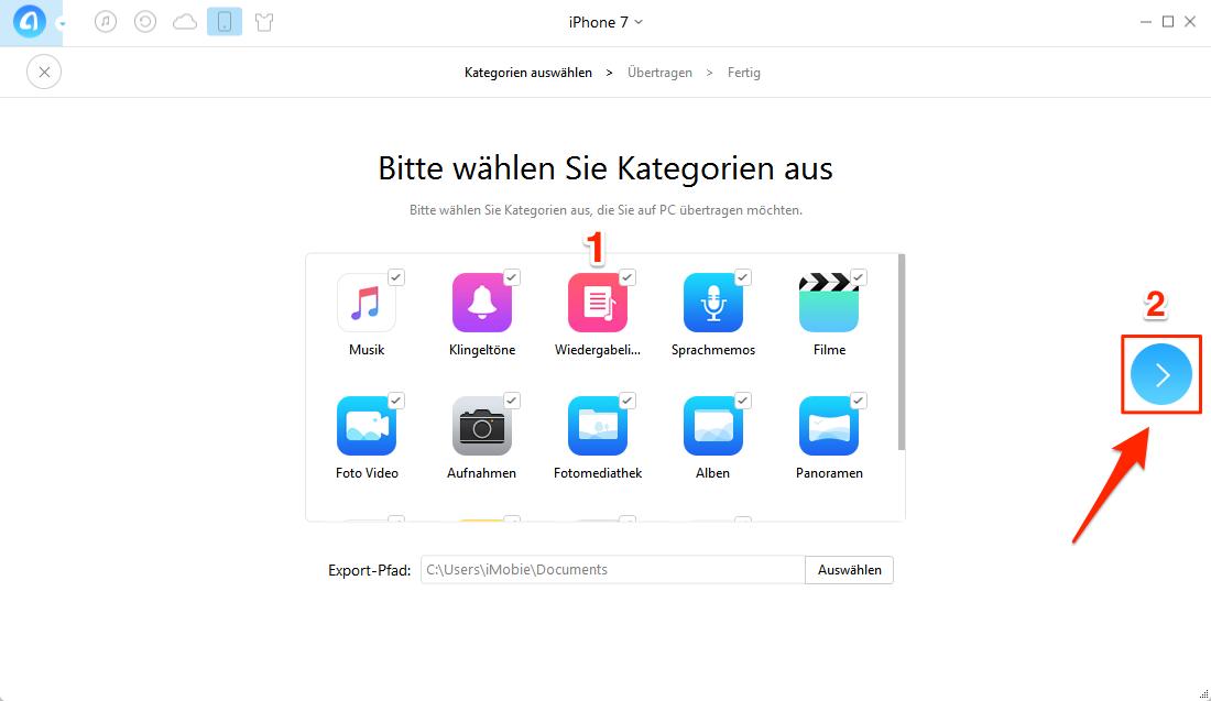 iPhone Daten auf PC übertragen – Schritt 3