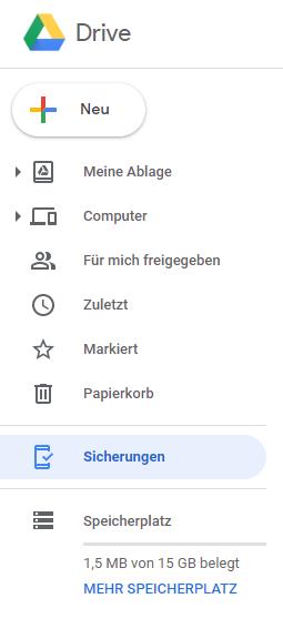 Daten über Google Drive übertragen
