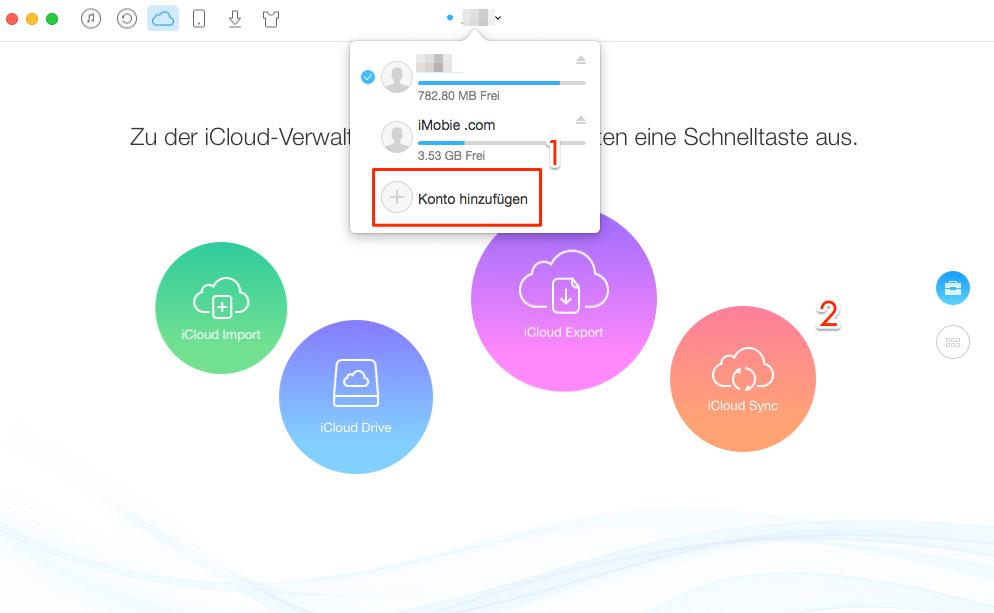 iCloud Accounts zusammenführen - Schritt 2