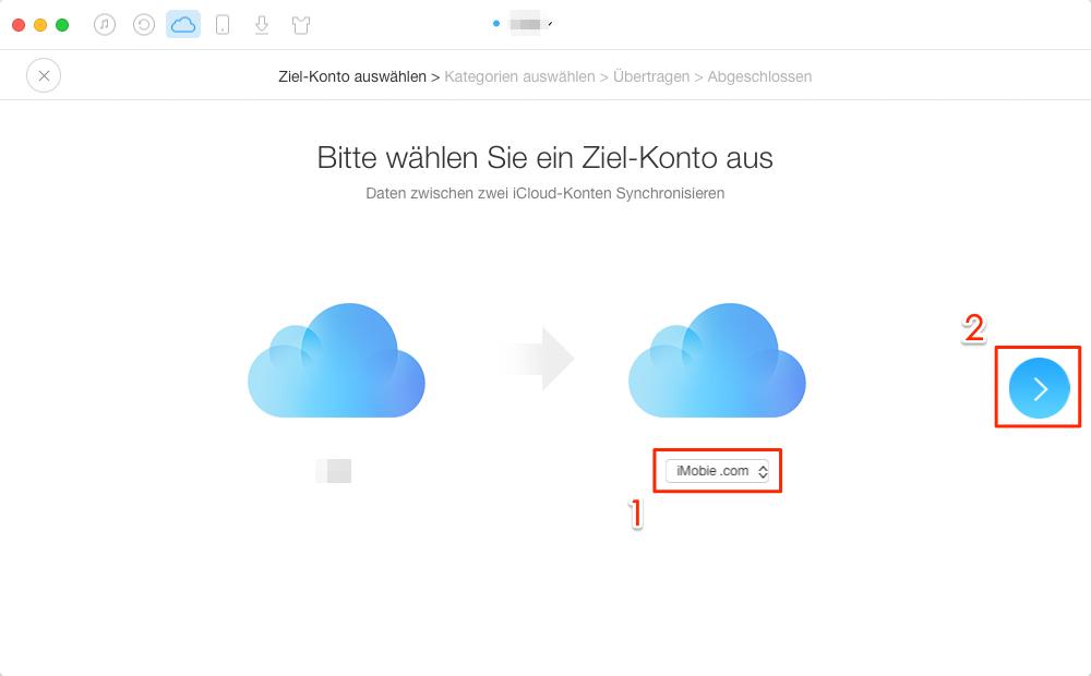 2 Apple IDS zusammenführen: iCloud Account auswählen – Schritt 3