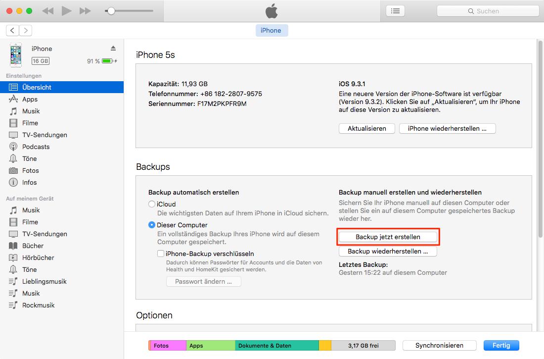 Daten via iTunes sichern