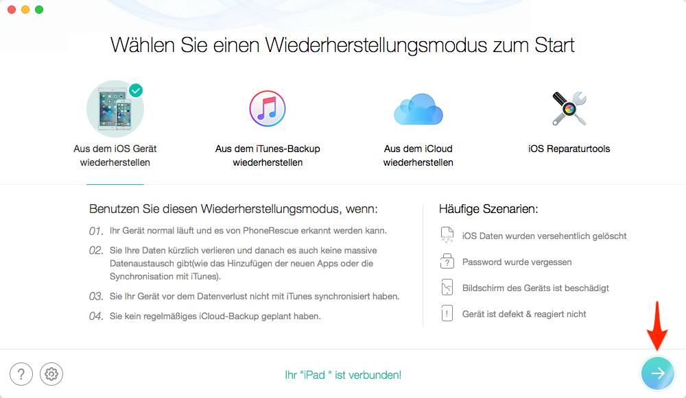 Daten direkt aus dem iOS Gerät wiederherstellen – Schritt 2