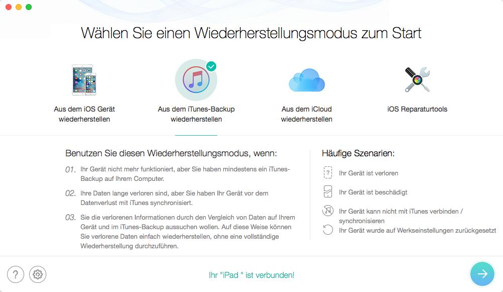 Datenrettung auf iPad über iTunes – Schritt 1