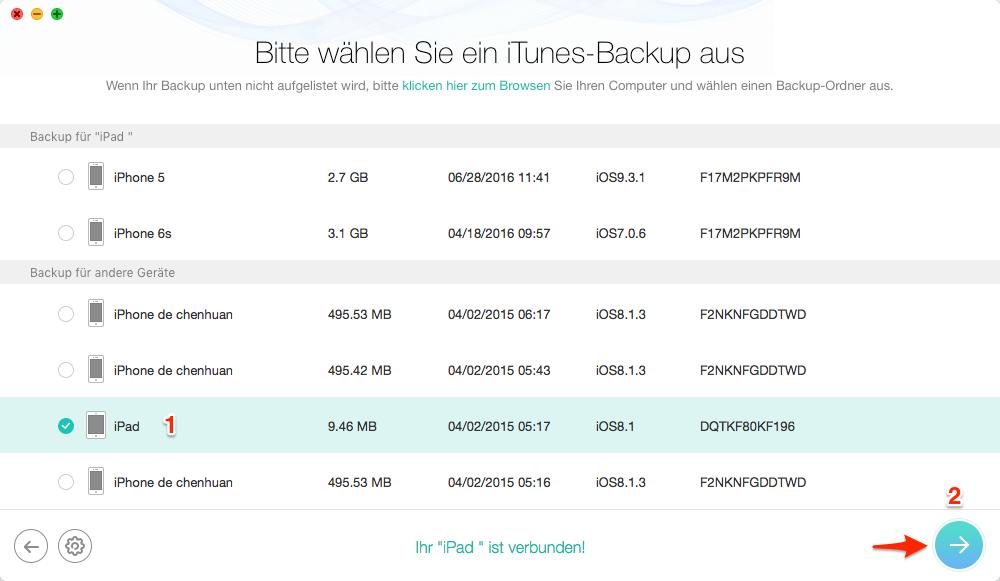 iPad Daten auf Backup retten – Schritt 2