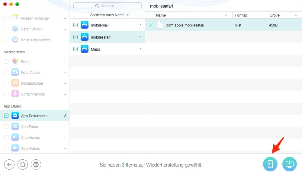 Daten auf dem iPad aus iTunes-Backup retten – Schritt 4