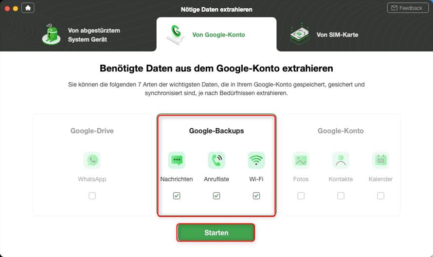 Datentypen in Google-Sicherung wählen
