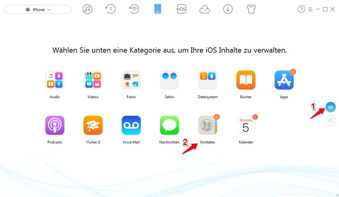 iPhone Kontakte sicher exportieren – Schritt 1