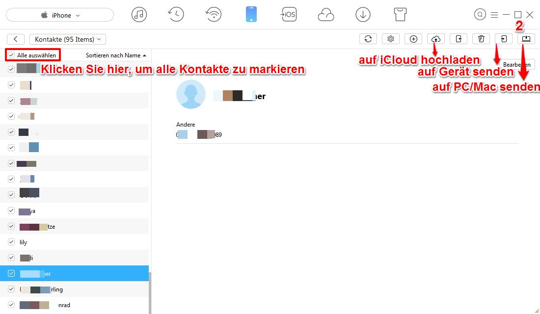 iPhone Kontakte auf PC exportieren – Schritt 3