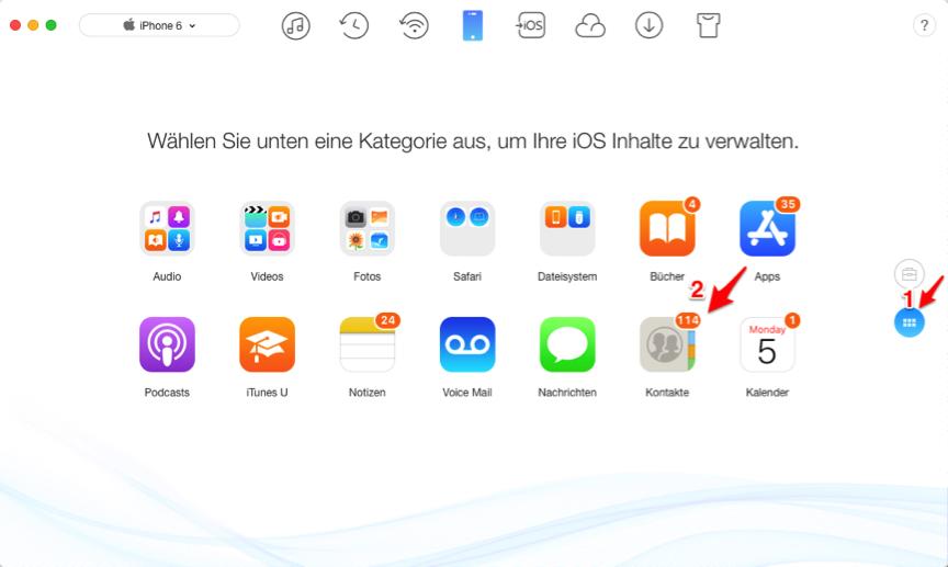Kontakte von iPhone auf Mac – Schritt 1