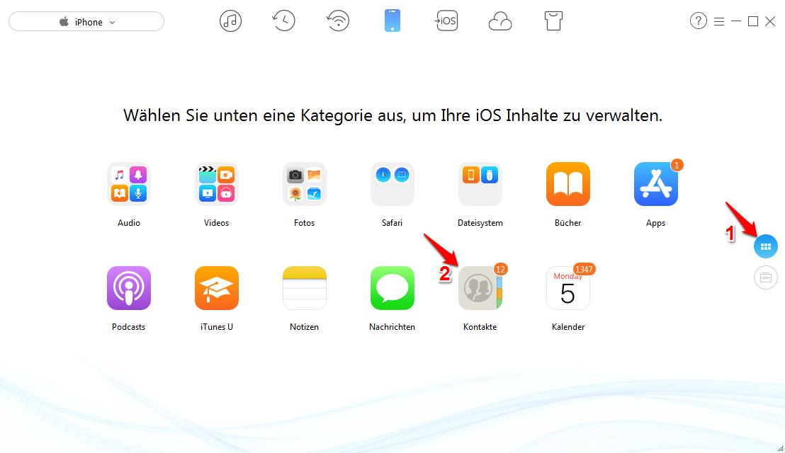 Kontakte von iPhone auf PC - Schritt 2