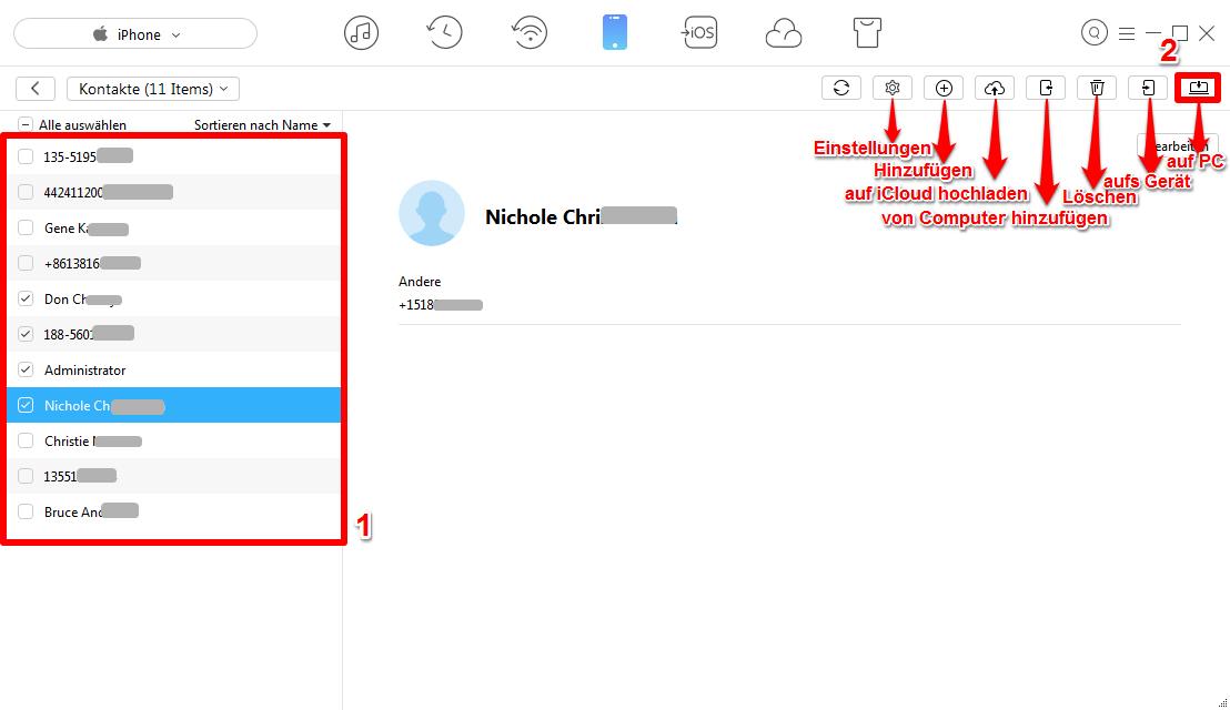 Kontakte vom iPhone auf PC - Schritt 3