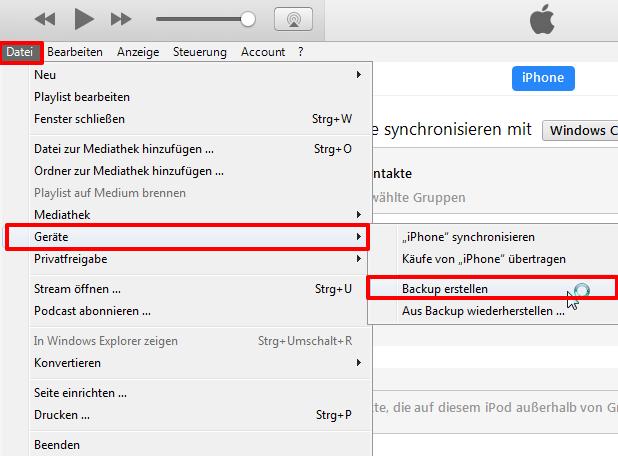 Kontakte vom iPhone auf PC leicht transportieren - Schritt 3