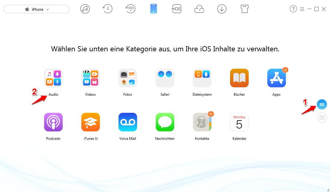 Musik ohne iTunes auf iPhone laden – Schritt 1