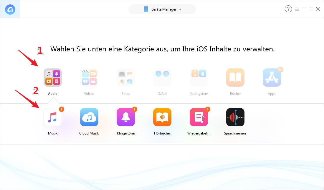 Musik auf iPhone übertragen ohne iTunes - Schritt 2