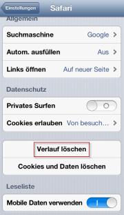 Safari Verlauf vom iPhone löschen