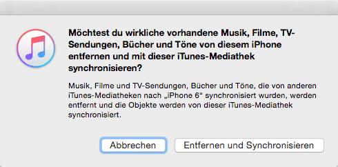 Der Hinweis vom Datenentfernen von iTunes