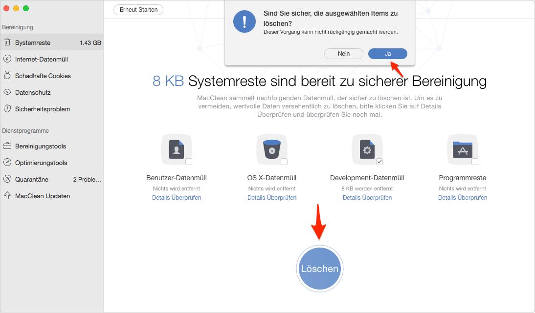 Mac Development sicher löschen – Schritt 5