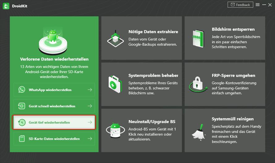 Die Homeseite von DroidKit