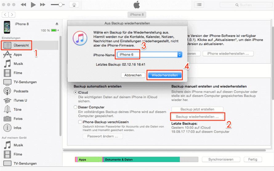 Die Kontakte von iPhone zu iPhone über iTunes