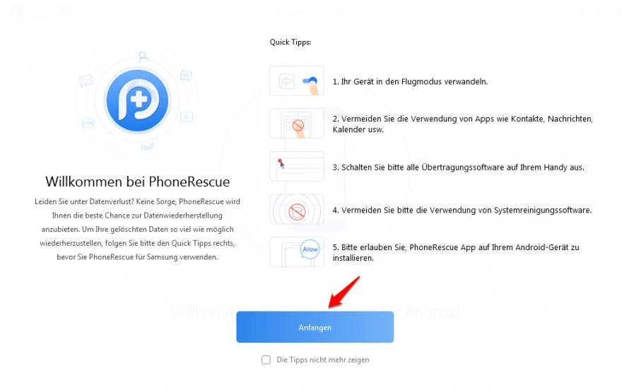 Die Oberfläche von PhoneRescue für Android